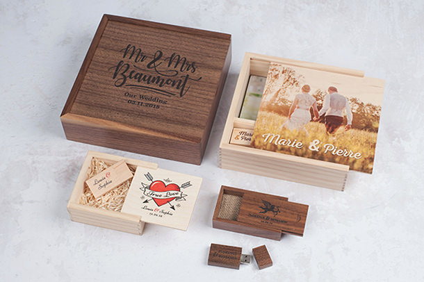 Professional Maple & Walnut USB Boxes