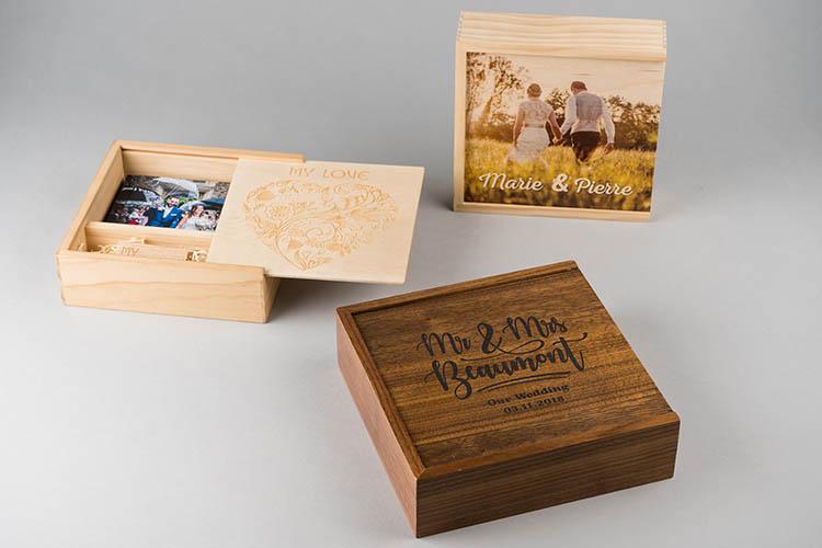 Impression en bois et boite USB