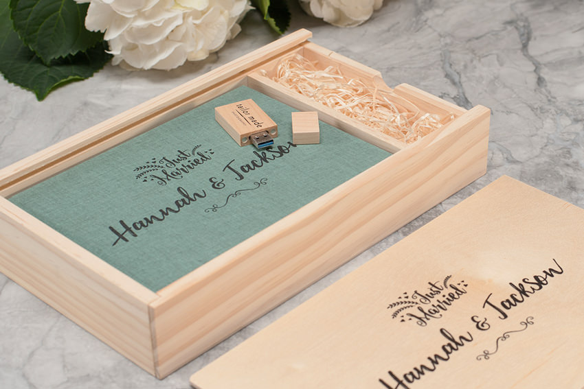 Linen Photo Book + Wooden USB Box